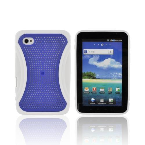 Samsung Galaxy Tab P1000 Hard Case w/ Gummy Crystal Silicone Lining - Xmatrix Blue/ White
