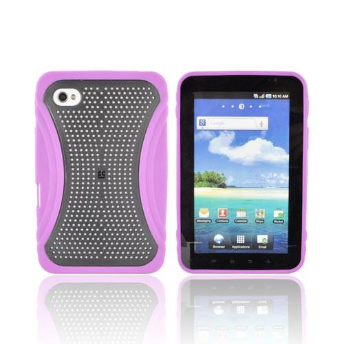 Samsung Galaxy Tab P1000 Hard Case w/ Gummy Crystal Silicone Lining - Xmatrix Purple/ Black