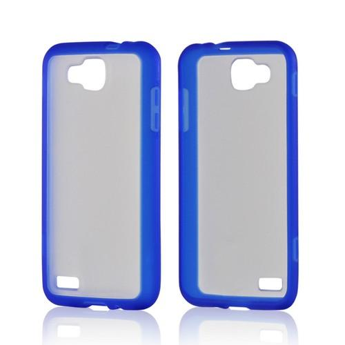 Blue/ Clear Hard Back w/ Crystal Silicone Border for Samsung ATIV S T899