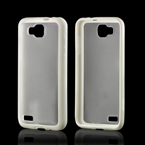 White/ Clear Hard Back w/ Crystal Silicone Border for Samsung ATIV S T899