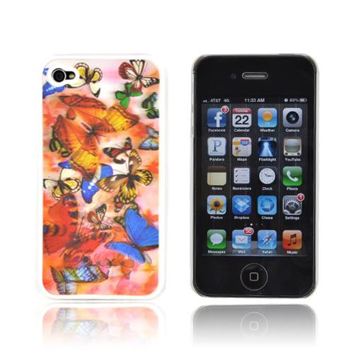AT&T/ Verizon Apple iPhone 4,iPhone 4S Hologram 3D Hard Case - Light Butterflies