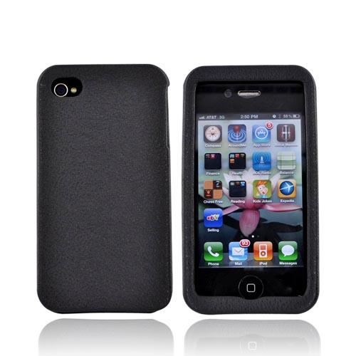 Luxmo Apple Verizon/ AT&T iPhone 4, iPhone 4S Leather Molded Hard Case - Black