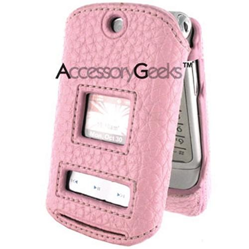 Motorola K1m CDMA Premium Leather Hard Case - Baby Pink