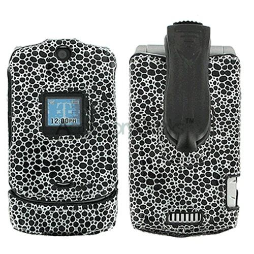 Motorola RAZR V3 Custom Molded Protective Hard Case -Black Pebbles