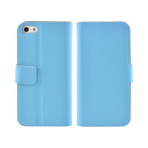 Premium Apple iPhone 5/5S Dolce Faux Leather Case Stand - Blue