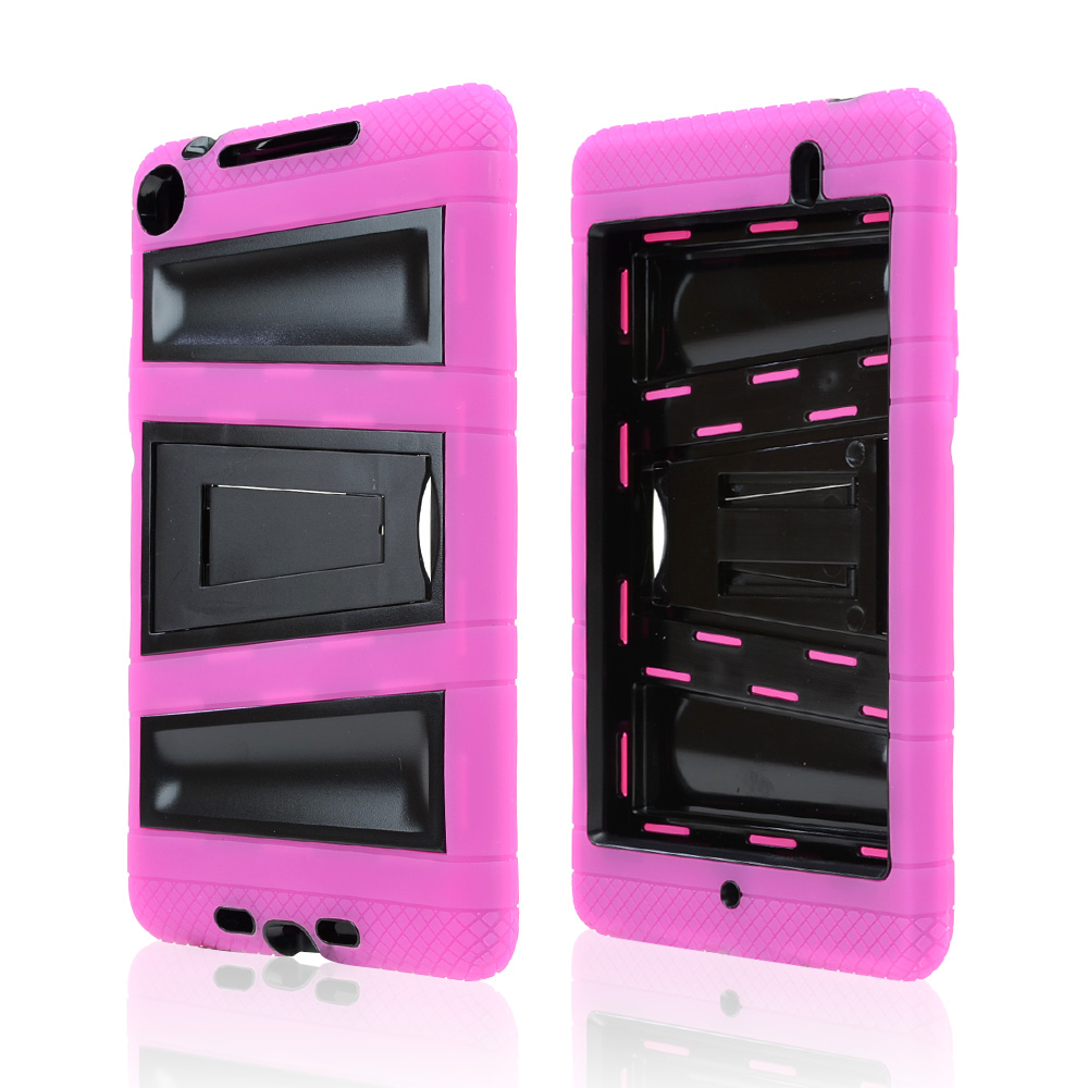 Hot Pink Silicone Over Black Hard Case w/ Locking Stand & Hand Grips for Google Nexus 7 2