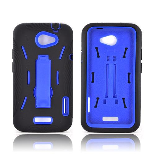 HTC One X Silicone Over Hard Case w/ Stand - Black/ Blue