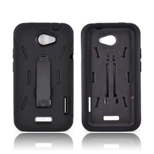 HTC One X Silicone Over Hard Case w/ Stand - Black