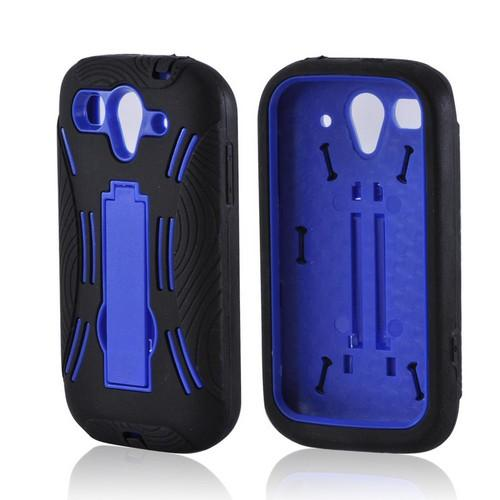 T-Mobile Huawei myTouch 2 Silicone Over Hard Case w/ Stand - Black/ Blue