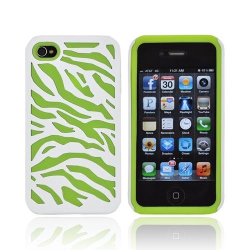 AT&T/ Verizon Apple iPhone 4, iPhone 4S Zebra Shell On Silicone Case - White/ Lime Green Zebra