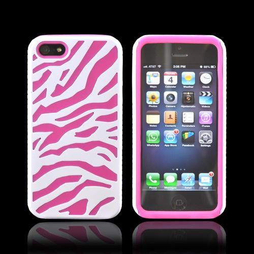 Apple iPhone 5/5S Zebra Shell on Silicone Case - White/ Hot Pink Zebra