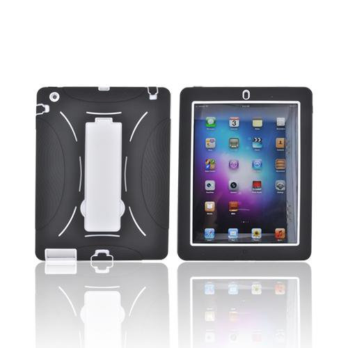 Apple iPad 2 Silicone Over Hard Case w/ Stand - Black/ White
