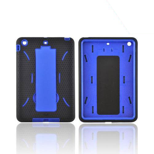 Apple iPad Mini Silicone Over Hard Case w/ Vertical Stand - Black/ Blue