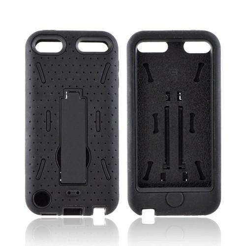 Apple iPod Touch 5 Silicone Over Hard Case w/ Kickstand - Black