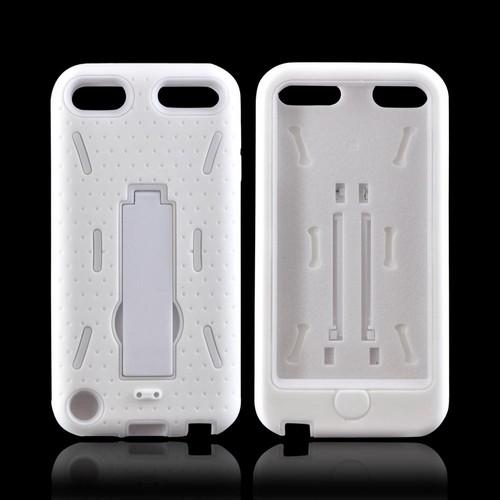 Apple iPod Touch 5 Silicone Over Hard Case w/ Kickstand - White