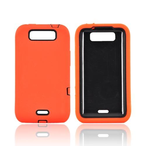 LG Viper 4G LTE/ LG Connect 4G Silicone Over Hard Case - Orange/ Black