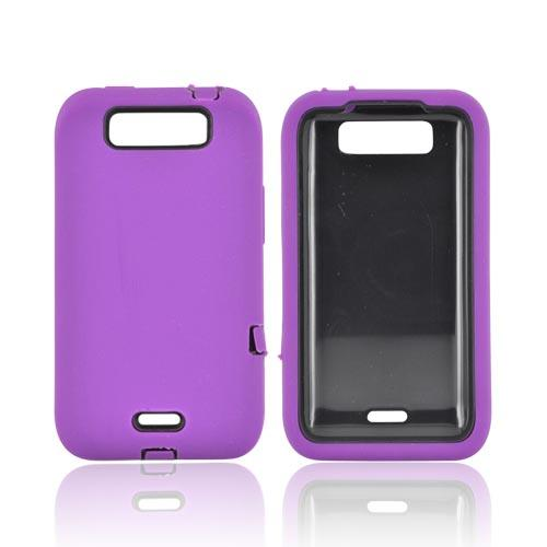 LG Viper 4G LTE/ LG Connect 4G Silicone Over Hard Case - Purple/ Black
