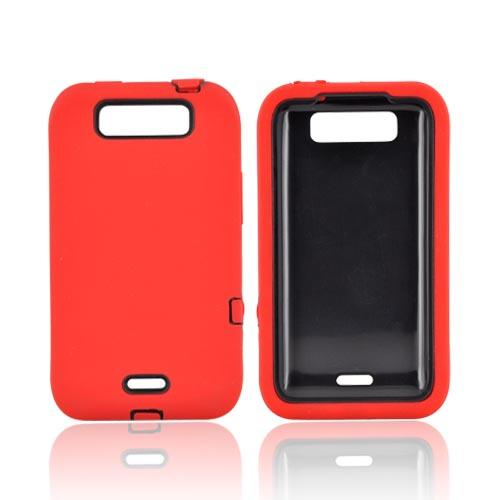 LG Viper 4G LTE/ LG Connect 4G Silicone Over Hard Case - Red/ Black