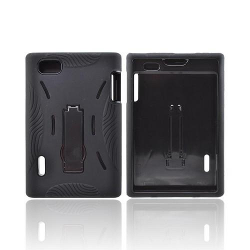 LG Intuition VS950 Silicone Over Hard Case w/ Stand - Black