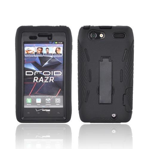 Motorola Droid RAZR Silicone Over Hard Case w/ Stand - Black