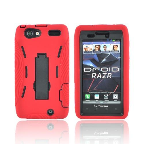 Motorola Droid RAZR Silicone Over Hard Case w/ Stand - Red/ Black