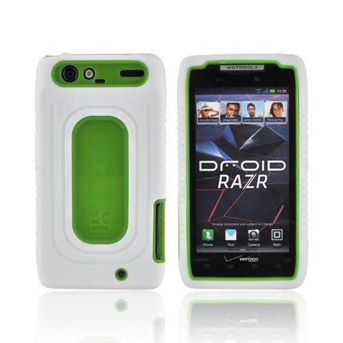Motorola Droid RAZR Silicone Over Hard Case - White/ Lime Green