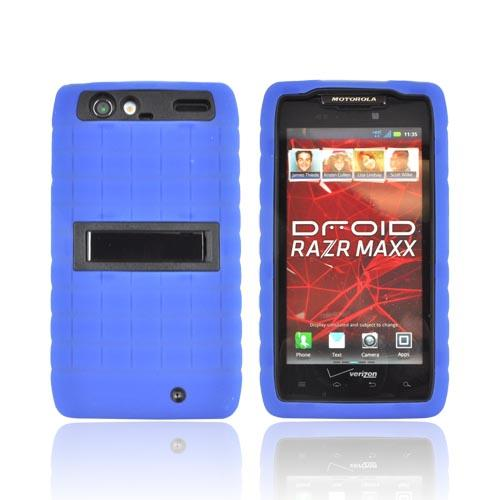Motorola Droid RAZR MAXX Silicone Over Hard Case w/ Stand - Blue/ Black