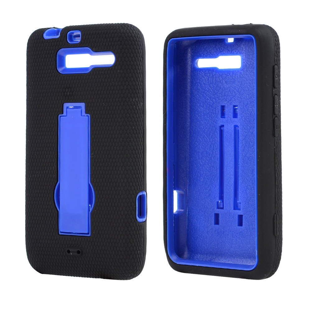 Motorola Droid RAZR M Silicone Over Hard Case w/ Stand - Black/ Blue