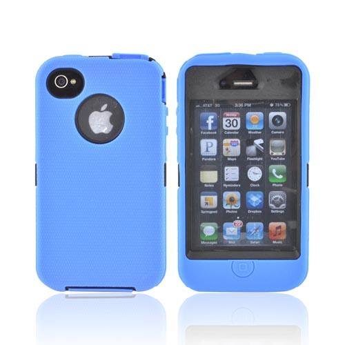 AT&T/ Verizon Apple iPhone 4, iPhone 4S Silicone Over Hard Case w/ Built-In Screen Protector - Blue/ Black