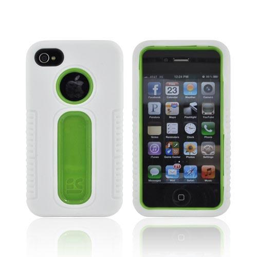 AT&T/ Verizon Apple iPhone 4/ iPhone 4S Silicone Over Hard Case - White/ Lime Green