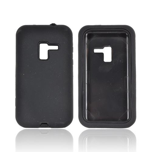 Samsung Conquer 4G Silicone Over Hard Case - Black
