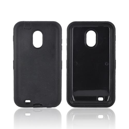 Samsung Epic 4G Touch Silicone Over Hard Case - Black