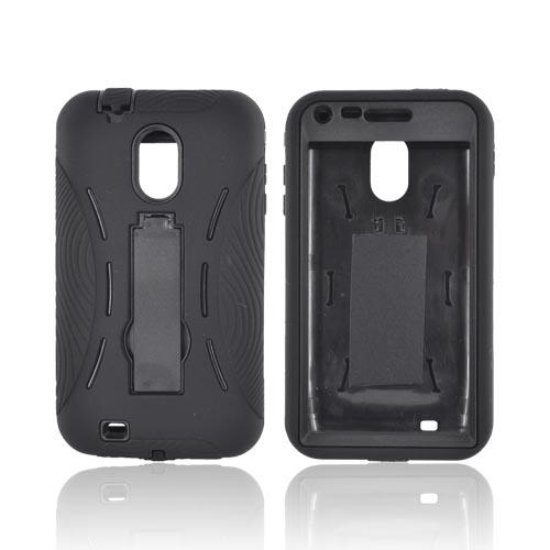 Samsung Epic 4G Touch Silicone Over Hard Case w/ Stand - Black