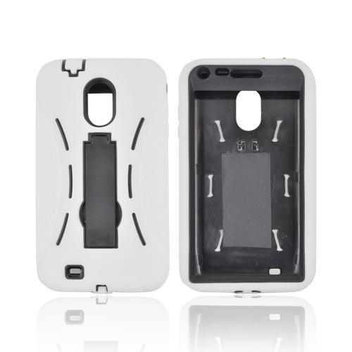 Samsung Epic 4G Touch Silicone Over Hard Case w/ Stand - White/ Black