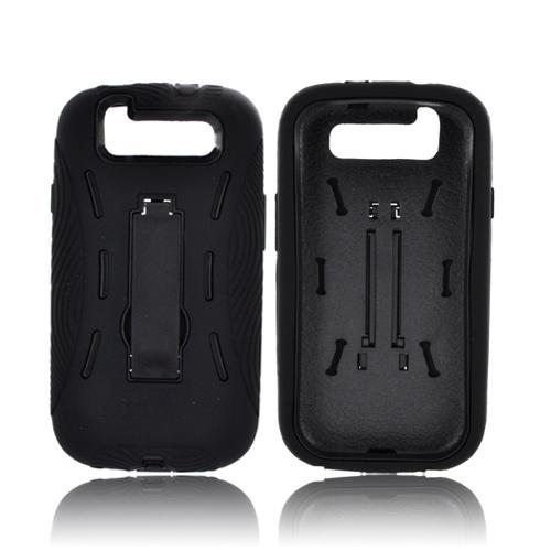 Samsung Galaxy S3 Silicone Over Hard Case w/ Kickstand - Black