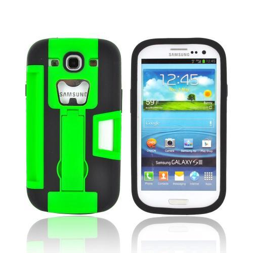 Samsung Galaxy S3 Silicone Over Hard Case w/ Bottle Opener, ID Holder & Stand - Green/ Black