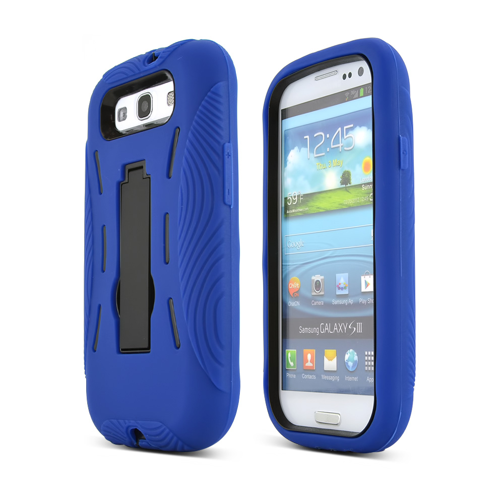 Samsung Galaxy S3 Silicone Over Hard Case w/ Kickstand - Blue/ Black