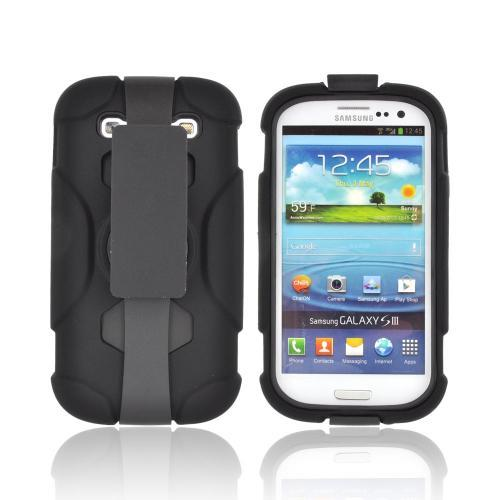 Samsung Galaxy S3 Silicone Over Hard Case w/ Detachable Stand & Belt Clip - Black