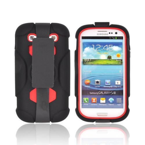 Samsung Galaxy S3 Silicone Over Hard Case w/ Detachable Stand & Belt Clip - Black/ Red