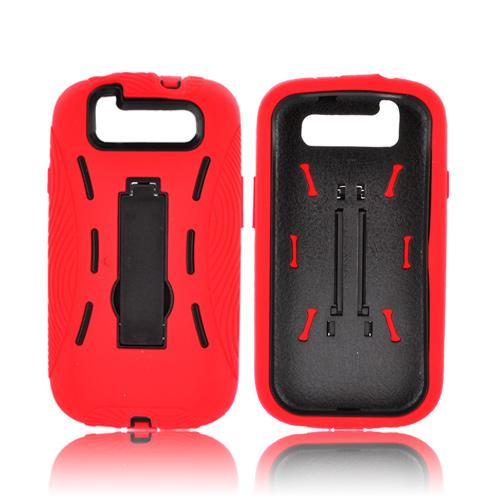 Samsung Galaxy S3 Silicone Over Hard Case w/ Kickstand - Red/ Black