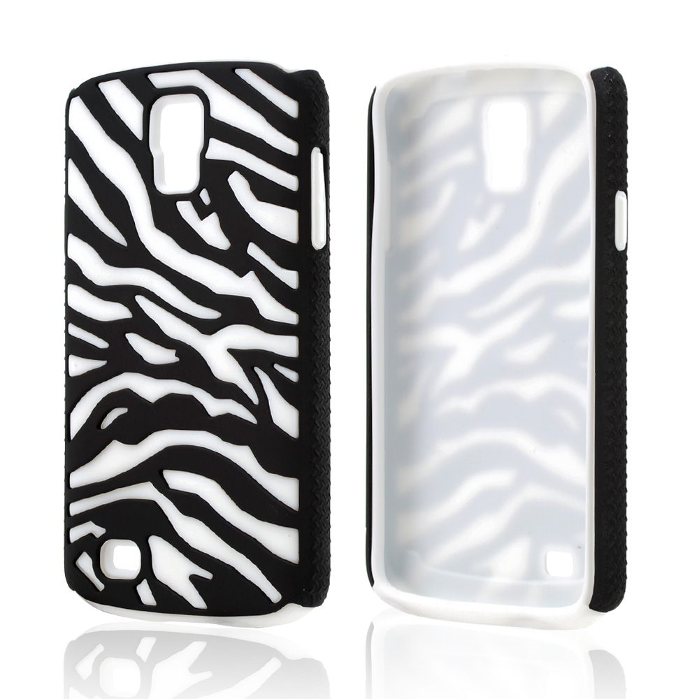 Black Zebra Shell on White Silicone Skin Case for Samsung Galaxy S4 Active