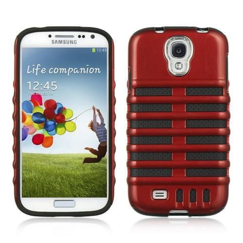 Red Skeleton Hard Cover on Black Silicone for Samsung Galaxy S4