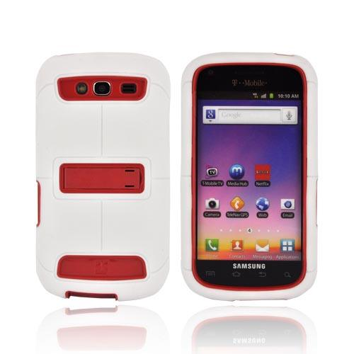 Samsung Galaxy S Blaze 4G Duo Shield Silicone Over Hard Case w/ Screen Protector & Kickstand - White/ Red