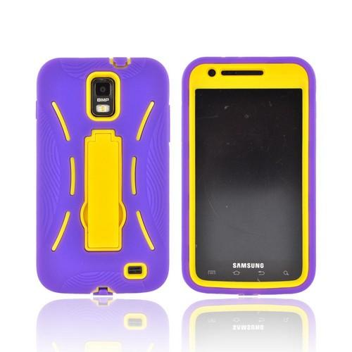 Samsung Galaxy S2 Skyrocket Silicone Over Hard Case w/ Stand - Purple/ Yellow