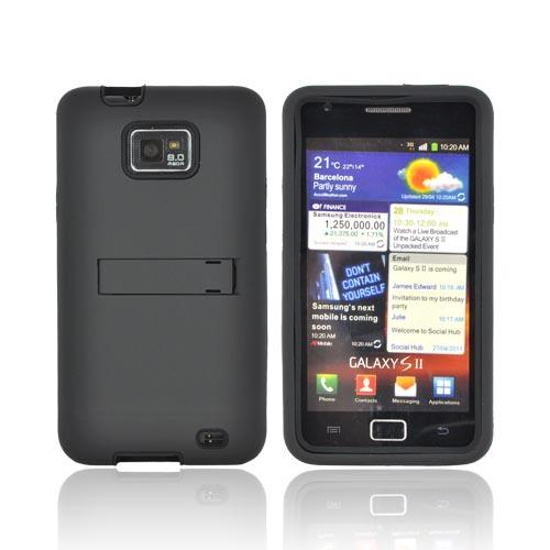 AT&T Samsung Galaxy S2 Silicone Over Hard Case w/ Stand - Black