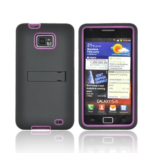 AT&T Samsung Galaxy S2 Silicone Over Hard Case w/ Stand - Black/ Pink