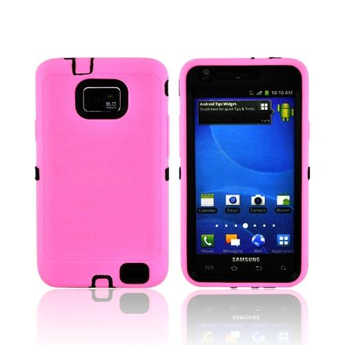 AT&T Samsung Galaxy S2 Silicone Over Hard Case - Baby Pink/ Black