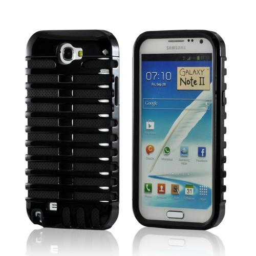 Black/ Black Hard Cover on Silicone for Samsung Galaxy Note 2
