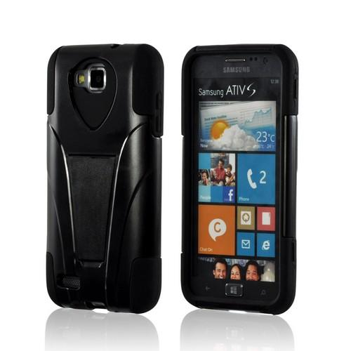Black Hard Cover on Black Silicone Hybrid Case w/ Kickstand for Samsung ATIV S