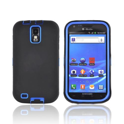 T-Mobile Samsung Galaxy S2 Silicone Over Hard Case - Black/ Blue
